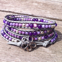 Beaded Leather 4 Wrap Bracelet with Lavender Purple Tone Czech Glass Beads