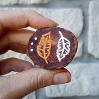 Leaf Pin Accessory / Hand Painted Wood Brooch / Orange and White