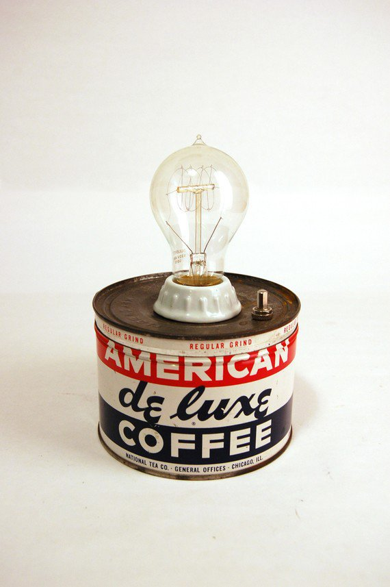 American De Luxe Coffee Tin Lamp by yellowsquarelove on Etsy