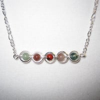Silver Plated Chain Beaded Necklace
