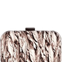 Wedding | Multi Neutral feather print clutch  | KarenMillen Stores Limited