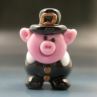 Pigrim Pilgrim Pig Handmade Lampwork Glass Thanksgiving Halloween Focal Bead SRA Gelly