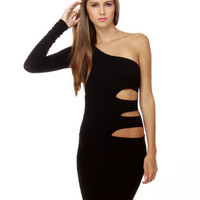 It's Instinctual One Shoulder Black Dress