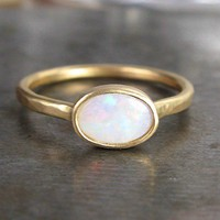 Sweet Little Opal Ring - Recycled 14k Gold