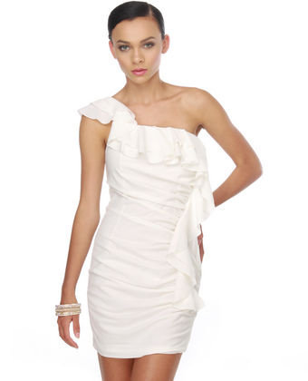 White Cloud Mountain One Shoulder White Dress