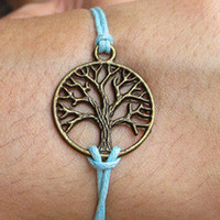 Anchor-wishing antique brass  tree bracelet,small tree light blue wax cord bracelet
