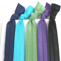 Elastic Hair Ties - Yoga Hair Bands (5) - Ribbon Hair Ties - No Tug Hair Ties - No Crease Pony Tail - Ribbon Bracelet