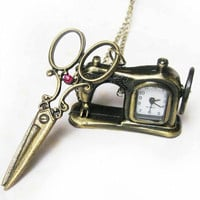sewing machine with the wheel can rotate pocket watch and scissors necklace red crystal