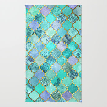 Cool Jade   Icy Mint Decorative Moroccan Tile Pattern Rug
