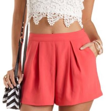 Pleated High-Waisted Shorts by Charlotte Russe  Coral