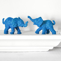 Safari Blue Elephants Baby Shower Decorations in Glitter for Boy Jungle Nursery Decor, Sapphire Circus Birthdays, or Wedding Table Settings