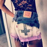 Urban Eclectics — High Waisted Three Toned Studded Cross Shorts