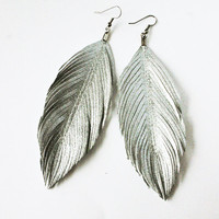 Platinum Wing - Silver Faux Leather Feather Earrings
