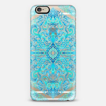 Watercolor Lace Doodle in Turquoise & Aqua on Transparent iPhone 6 case by Micklyn Le Feuvre |…