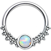 "14 Gauge 1/2"" Synthetic White Opal Drops of Dew Captive Ring 