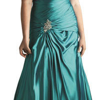 Delicately Pleated Plus Size Gown