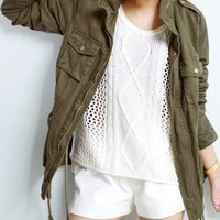 Army Green Long Sleeve Drawstring Zipper Pocket Trench Coat - Sheinside.com