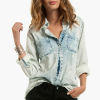 Totally Bleachin' Denim Shirt $45