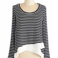 ModCloth Nautical Mid-length Long Sleeve Swell Within Your Reach Top