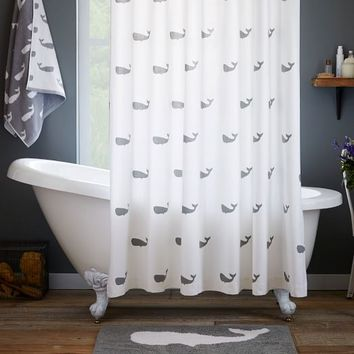 Whale Shower Curtain  Feather Gray