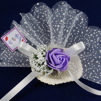 Beach wedding oyster lavender sachet favors /designed with white organza ribbon lilac purple rose flower/ bridal shower /Custom listing (50)