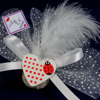 Beach wedding heart red ladybug lavender sachet favors /designed with white organza ribbon / bridal shower / baby shower /Custom listing(50)