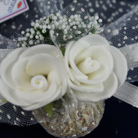 Beach wedding white rose lavender sachet favors /designed with white organza ribbon rose / bridal shower / baby shower / Custom listing (50)
