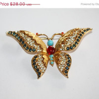 Holiday Sale Vintage Butterfly  Brooch Faux Turquoise Rhinestone 1950s Jewelry