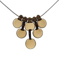 Supermarket: Brown Interlaced Droplet Discs 5 lampwork necklace from FormFire Glassworks