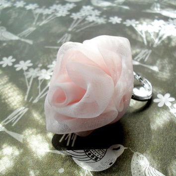 Pale Pink Chiffon Rose Ring Expandable - Ready To Ship