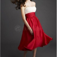 Lovely Girl Color Block Strapless Tea-length Satin Prom Dress– Discount Prom Dresses