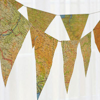 vintage map bunting by grace &amp; favour home | notonthehighstreet.com