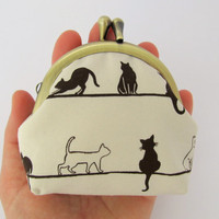 Coin purse Neutral Beige Natural Black cat White cat Frame purse Kawaii Japanese fabric