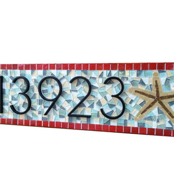 House Number Plaque with Starfish 8212 Beach House Address