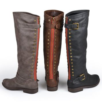 Brinley Co. Womens Studded Buckle Detail Boots 9 Wide Calf Black