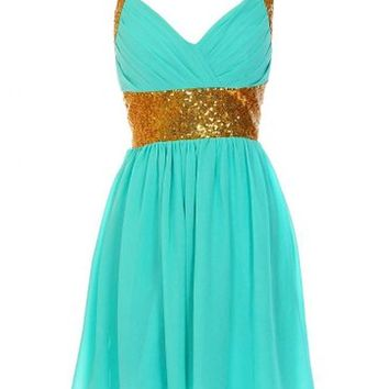 Kamilione Women's Sweetheart neckline Chiffon Sequin Short Homecoming Prom Dress