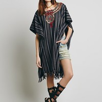 Ketzahli for Free People Womens Carmen Embroidered Poncho - Charcoal One