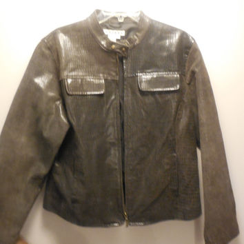 Vintage Mens Leather Coat A.M.I. Grey Size XL