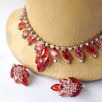 Juicy Red and Pink Rhinestone Necklace and Earrings Set