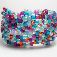 Braided Cuff Bracelet Multi Color Blue Purple Orange Beaded Cuff Bracelet