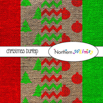 Christmas Burlap Digital Paper Pack – Rustic Scrapbooking Backgrounds – Christmas Patterns – red and…
