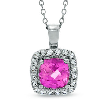 7.0mm Cushion-Cut Lab-Created Pink and White Sapphire Frame Pendant in Sterling Silver