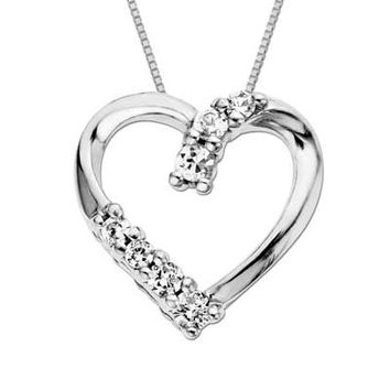 Lab-Created White Sapphire Heart Pendant in Sterling Silver