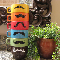 Multi Colored Bright Mustache Coffee Mugs by olivetreemonograms