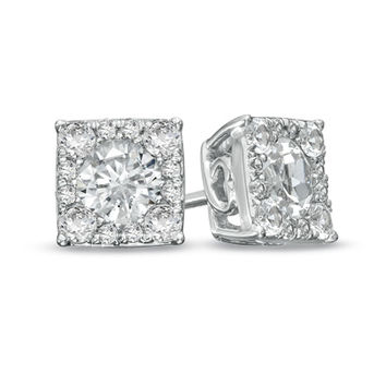 Lab-Created White Sapphire Composite Square Stud Earrings in Sterling Silver