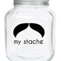 My Stache Jar The Officer Mustache Glass by olivetreemonograms