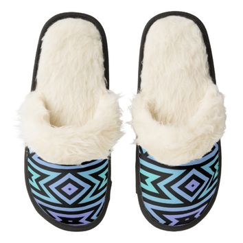 Teal/Lilac/Black Aztec Pattern Slippers | Zazzle.com