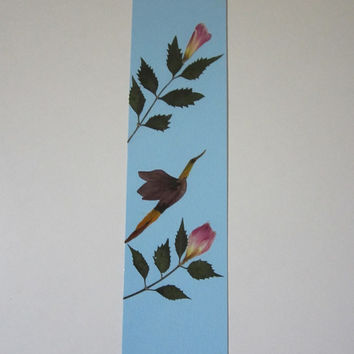 """Handmade unique bookmark """"Passage"""" - Decorated with dried pressed flowers and herbs - Original art collage."""