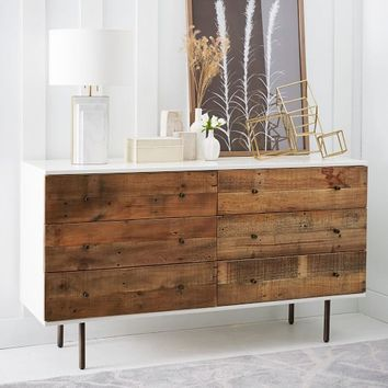Reclaimed Wood  Lacquer 6-Drawer Dresser