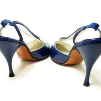 Vintage Shoes Blue Patent Leather Spike Heel Navy French Room 8.5 NOS